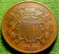 1868 Two Cent Piece 2c ~BETTER DATE~ HIGHER GRADE COlN w/ SOLID DETAILS ~ 12VN