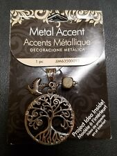 BRAND NEW Cousin Beads Metal Accent Tree/Bird Accent Silver Necklace Pendant 1pc