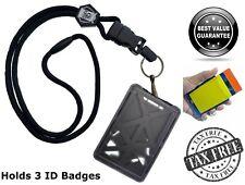 Plastic Three Card ID Badge Holder Heavy Duty Breakaway Lanyard Quick Release