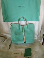 Tiffany & Co Leather Suede Reversible Handbag Tiffany Blue and Metallic Silver