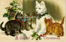 Vintage Victorian Christmas Postcard Printed onto Fabric Victorian Cats Kittens
