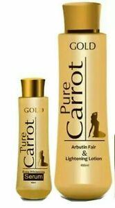 Pure Carrot Gold With Arbutin Fair & Lightening Lotion  + Serum 2pcs Set