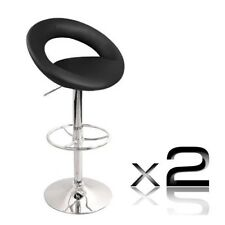 2 x PU Leather Bar Stool - Black T307G Chair Seat Furniture Home Office