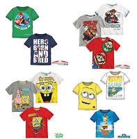 Boys T-Shirt Short Sleeve Top Mario Spongebob Minions Age 3-12 Cotton Official