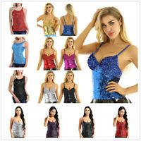 Women Sleeveless Sexy Blouse Sparkly Glitter Slim Tank Top Vest Cami Night Club