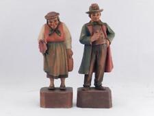 Rare~Vintage Set of 2 Anri Wood Carvings~Sculpture~Kathar ina Kaslatter~Villagers