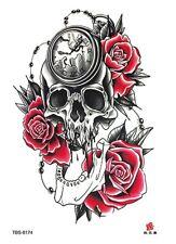 Clock Skull Red Rose Waterproof Temporary Tattoo Sticker *UK SELLER* /-m128-/