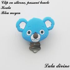 Pince / Clip en silicone, attache tétine, passant boucle, Koala : Bleu moyen