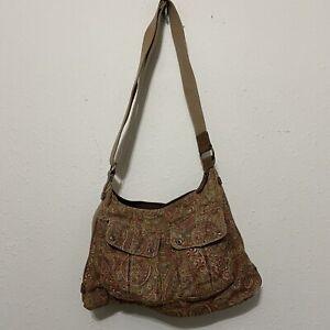 Fossil Paisley Corduroy Hobo Shoulder / Crossbody Bag browns adjustable