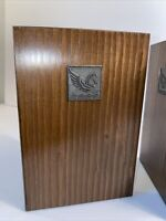 Vintage Mid-Century Readers Digest Logo Wood and Brass Pegasus Horse bookends
