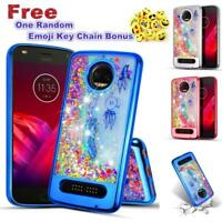 For Motorola Moto Z2 Play/Z2 Force Glitter Sparkle Liquid Quicksand Rubber Case