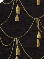 Wallpaper Designer Gold & Cream Draped Cord With Tassels on Black Faux Fabric