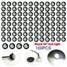 "100X 3/4"" Bullet Clear White Round Clearance Side Marker Truck Trailer LED Light"