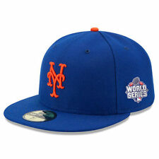 New Era 5950 NEW YORK METS WORLD SERIES Patch 2015 Game Hat NY Fitted Cap 7 3/4