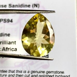 Untreated 100% Natural 12.65ct Pear African Chartreuse Sanidine Loose Gemstone