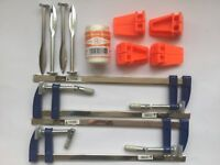 BRICKLAYERS TOOLS corner blocks. Line pins. F profile clamps 100m line uk set 2
