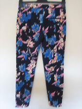 """FF16) Zara Trafaluc Floral Leggings Flaco Cintura 24"""" dentro de la pierna 25"""" cremalleras en los tobillos"""
