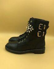 NEW Kurt Geiger LONDON Stoop black leather biker boots Size 6 39 RRP £199
