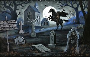 5.25x8.25 PRINT OF PAINTING RYTA HALLOWEEN SLEEPY HOLLOW HEADLESS Gothic Church