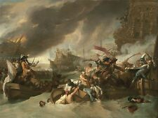 BENJAMIN WEST AMERICAN THE BATTLE LA HOGUE OLD ART PAINTING POSTER BB4930A