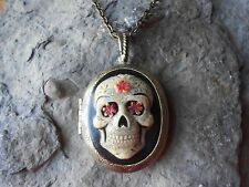 HAND PAINTED CAMEO LOCKET - SKULL, DAY OF THE DEAD, WICCAN, - BRONZE, GOTHIC