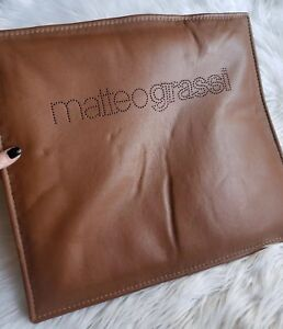 RARE Brown LEATHER MATTEO GRASSI  Chair Cushion Large Logo 17.5in x 15.5in