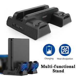 Cooling Fan Vertical Stand 2 in 1 Controller Charge Dock Fits PS4 Pro/Slim