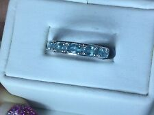 Size 9 Blue Zircon Sterling Silver Band Ring TGW 1.62 Carats