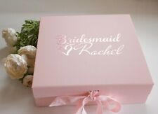 LARGE PINK GIFT BOX PERSONALISED WITH ROSE GOLD FONT BRIDESMAID BRIDE BIRTHDAY