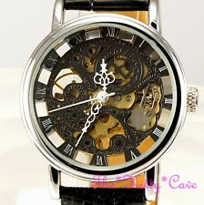 Mechanical See-Thru Skeleton Steampunk Silver Black Leather Wind-Up Unisex Watch