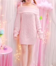 Kawaii Cute Women Lolita Lady Long Sleeve Bow Sweater knitting Top Shirt Dress