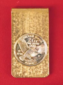 VINTAGE 1776 2 GRAM FINE SILVER ISSUE MONEY CLIP EAGLE COIN SET IN BRASS .999 !!