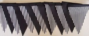 Newcastle Black & White Stripe MINI Fabric Bunting Football Bedroom 3mt