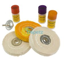7PC Metal Cleaning & Polishing Buffing Mop Wheel Kit & Compound Blocks Fit Drill