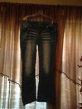 Woman's Amethyst Trendy Deco Stitched Flap Pocket Distressed Jeans Size 16