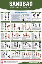 SANDBAG WORKOUT Strength Training Professional Fitness Wall Chart POSTER