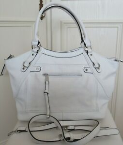 Med/large white faux leather bag with 2 handles & shoulder strap, Next