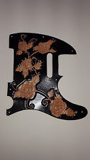 "Leather pickguard Fender Telecaster hand tooled leather ""Harmony roses"" black"