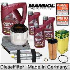 Audi A4 8K B8 2.7 3.0 TDI | Inspektionspaket Filtersatz + 8L MANNOL 5W-30 LL Öl