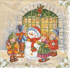 2 Serviettes papier Noël Homme de neige enfant Decoupage Paper Napkins Children