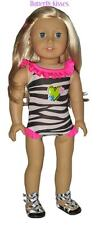 Zebra Heart  Print 1 PC Swim Suit 18 in Doll Clothes Fits American Girl
