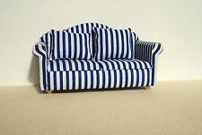 Dolls House Furniture: Blue & White Striped Sofa in 12th scale