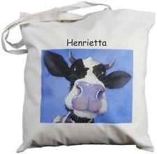 PERSONALISED - COW DESIGN -  NATURAL COTTON SHOPPING BAG  - blue design TOTE