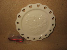 Longaberger Pottery Candle Plate & Ribbon Ivory cream color mint in box not used