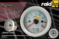 Raid hp Silver Line Drehzahlmesser  Anzeige Zusatz Instrument 52mm Silber / Blau