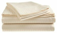 Queen Size Beige 400 Thread Count 100% Cotton Sateen Dobby Stripe Sheet Set
