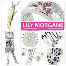 Lot 25 bijoux argent massif Lily Morgane : pendentif bague bracelet boucles