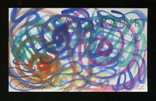 Listed Artist = C PETERSON = ACEO ART PAINTING =Watercolor ABSTRACT Swirls No 12