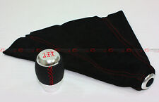 1988-2014 HONDA CIVIC LEATHER CHROME 5 SPEED SHIFT KNOB RED STITCHING+SUEDE BOOT
