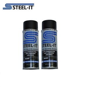 1012B STEEL-IT 2 pack 14oz Black Stainless Steel Polyurethane Aerosol Cans
